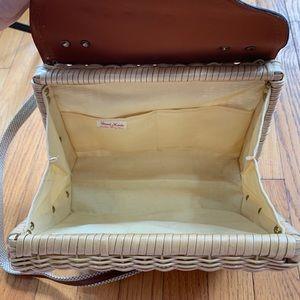 Vintage Bags - Vintage Handmade Wicker Basket Crossbody Purse